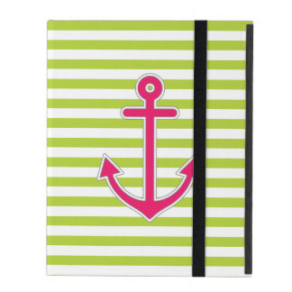 Lime Green Stripes Hot Pink Anchor Nautical iPad Folio Cover