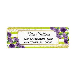Lime Green Stripes Purple Carnations Gold Confetti