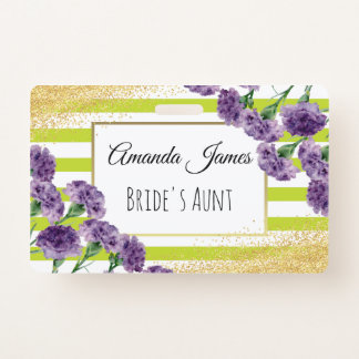 Lime Green Stripes Purple Carnations Gold Confetti Badge