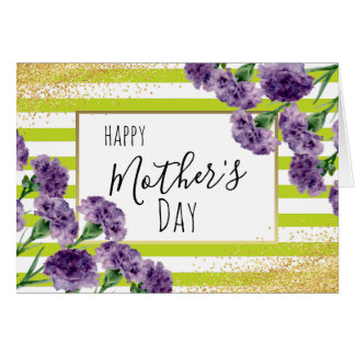 Lime Green Stripes Purple Carnations Gold Confetti Card