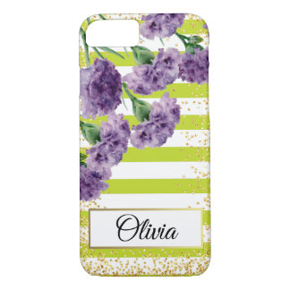Lime Green Stripes Purple Carnations Gold Confetti Case-Mate iPhone Case