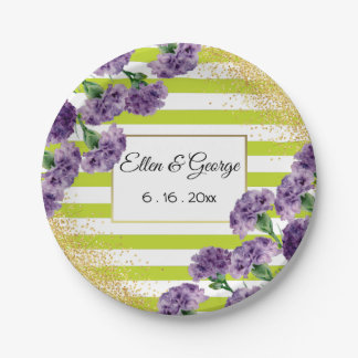 Lime Green Stripes Purple Carnations Gold Confetti Paper Plate