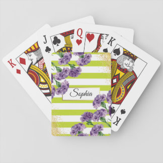 Lime Green Stripes Purple Carnations Gold Confetti Playing Cards
