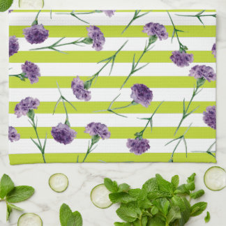Lime Green Stripes Purple Carnations Pattern Kitchen Towel