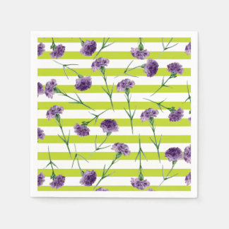 Lime Green Stripes Purple Carnations Pattern Paper Napkin
