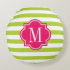 Lime Green Stripes with Hot Pink Monogram Round Pillow