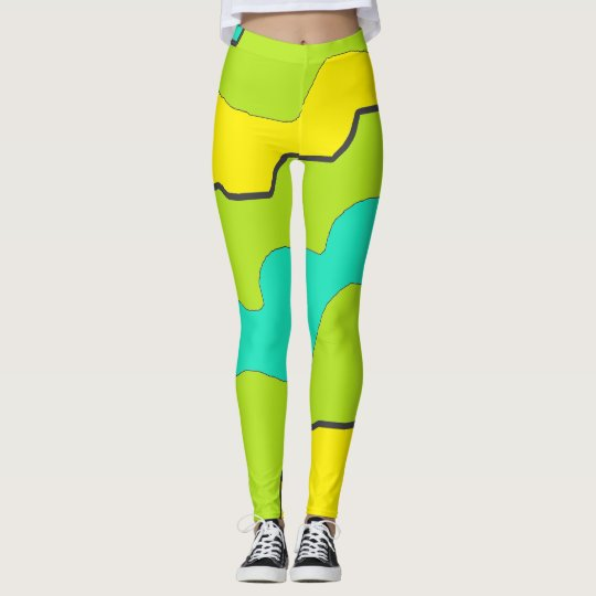 Lime Green, Teal and Yellow Leggings