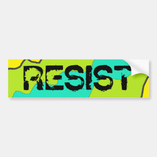 Lime Green, Teal and Yellow RESIST Bumper Sticker