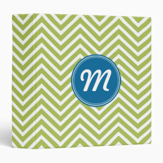 Lime Green & Teal Chevron Pattern with Monogram Binders