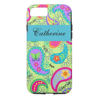 Lime Green Teal Modern Paisley Name Personalized iPhone 8/7 Case