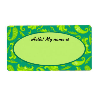 Lime Green & Teal Paisley Name Tag Label