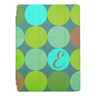 Lime Green Teal Turquoise & Rust Circles Monogram iPad Pro Cover