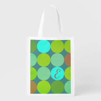 Lime Green Teal Turquoise & Rust Circles Monogram Reusable Grocery Bag