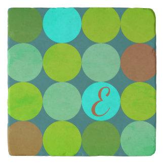 Lime Green Teal Turquoise & Rust Circles Monogram Trivet