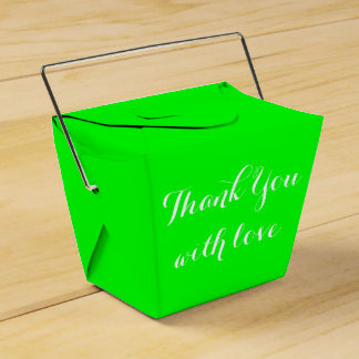 Lime Green Thank You Love Wedding Party Party Favor Box