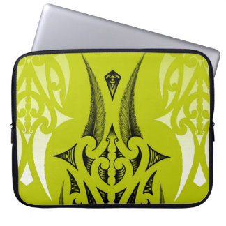 lime green tribal design with feathers laptop sleeve