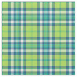 Lime Green, Turquoise and Blue Fashion Plaid Fabric