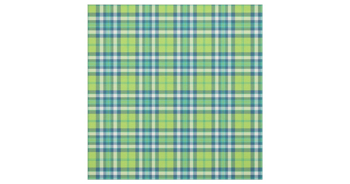 lime green turquoise and blue fashion plaid fabric zazzle. Black Bedroom Furniture Sets. Home Design Ideas