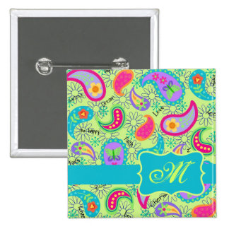 Lime Green Turquoise Modern Paisley Monogram 2 Inch Square Button