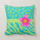 Lime Green & Turquoise Zebra & Cheetah Pink Flower Throw Pillow