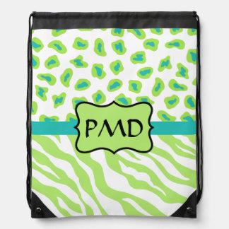 Lime Green Turquoise Zebra Leopard Skin Monogram Drawstring Backpack