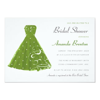Lime Green Vintage Dress Bridal Shower Invitation
