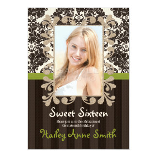 """Lime Green Vintage Lace Damask Sweet Sixteen 5"""" X 7"""" Invitation Card"""