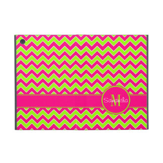 Lime Green w/ Pink Chevron Pattern Custom Monogram Cover For iPad Mini