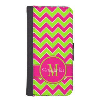 Lime Green w/ Pink Chevron Pattern Custom Monogram Phone Wallets