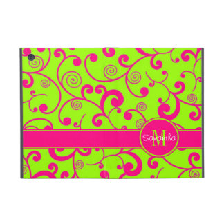 Lime Green w/ Pink Scroll Design Custom Monogram Cover For iPad Mini