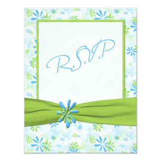 Lime Green, White, and Blue Floral Reply Card