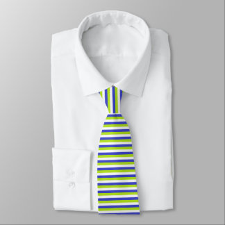 Lime Green, White and Blue Stripes Tie