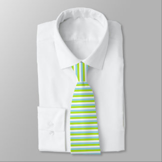 Lime Green, White and Pastel Blue Stripes Tie