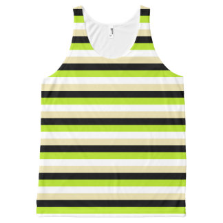 Lime Green, White, Beige and Black Stripes All-Over-Print Tank Top