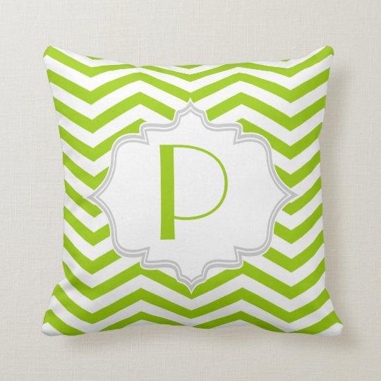 Lime green, white chevron zigzag pattern throw pillow