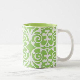 Lime Green & White Damask Print Coffee Mug