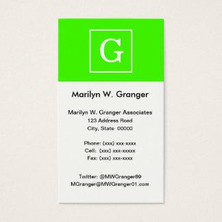 Lime Green White Framed Initial Monogram Business Card