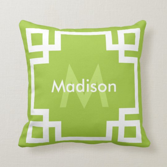 Lime Green White Greek Key Monogram Throw Pillow