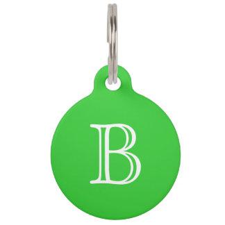 Lime Green White Monogram Initial Name Pet Tag