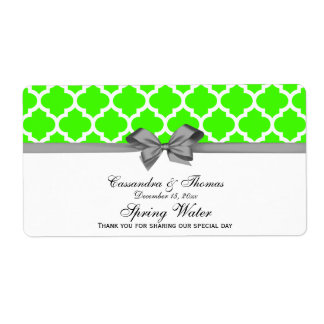Lime Green, White Moroccan Gray Party Water Label Shipping Label