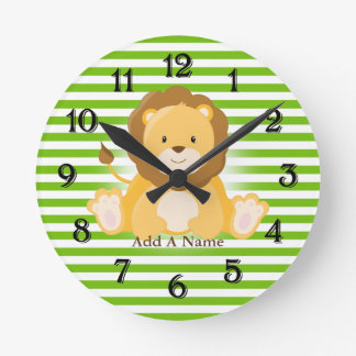 Lime Green-White Stripes•Lion•Custom Round Clock