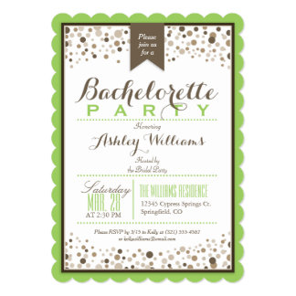 Lime Green, White, Taupe Bachelorette Party Card