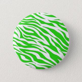 Lime Green White Zebra Stripes Wild Animal Prints 2 Inch Round Button