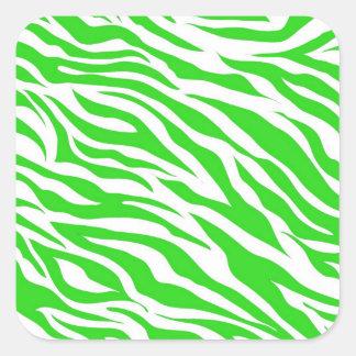 Lime Green White Zebra Stripes Wild Animal Prints Square Sticker