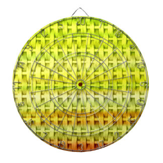 Lime green wicker art graphic design dartboard with darts