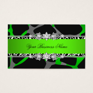 Lime Green Wild Animal Black Jewel Look Image Business Card