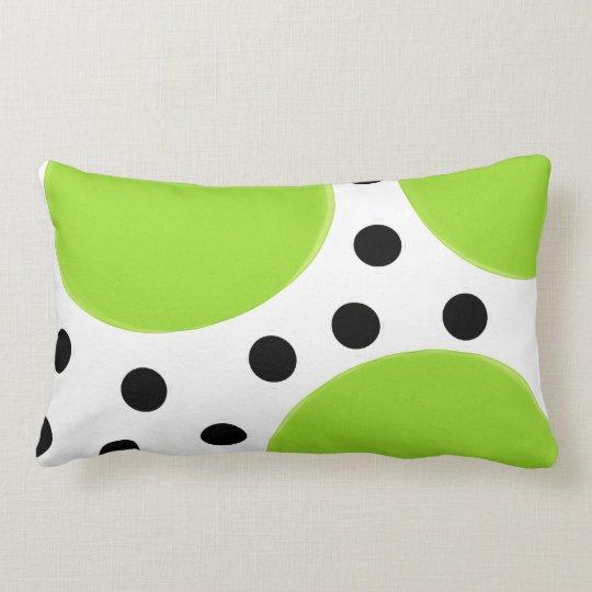 lime green with black polka dots lumbar pillow