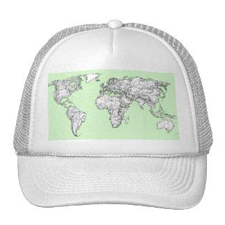 Lime green world map trucker hat