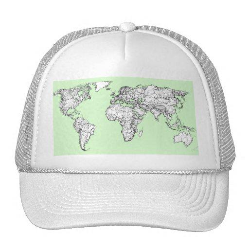 Lime green world map trucker hats
