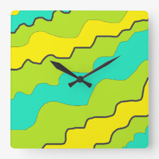 Lime Green, Yellow and Aqua Blue Clock